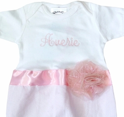 Personalized Infant Girl's Gown in Pink Seersucker