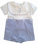 Sweet Dreams Boy's Monogrammable Blue Gingham Button On