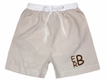 Sweet Dreams Boy's Monogrammable Khaki Seersucker Swim Suit/Trunks