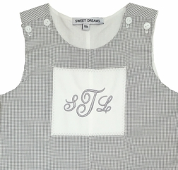 Sweet Dreams Boy's Monogrammable Patch Grey Check John John