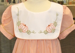 Sweet Dreams Girl's Dress with Shadow Embroidered Pumpkins
