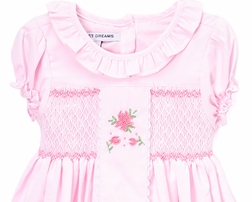 Sweet Dreams Light Pink Chest Smocked Sash Dress with Embroidered Flowers
