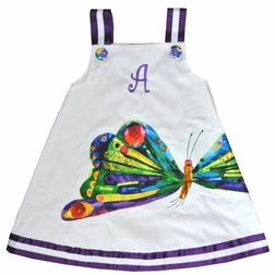 Girl's Butterfly, Hungry Caterpillar Dress with Optional Monogram and Bloomers