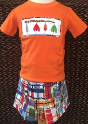 Three Sisters Boy's Smocked Fishing Lures Shirt and Madras Shorts Set