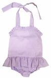 Three Sisters Girl's Lavender Seersucker 1 Piece Swimsuit