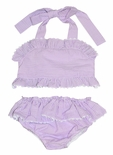 Three Sisters Girl's Lavender Seersucker 2 Piece Swimsuit
