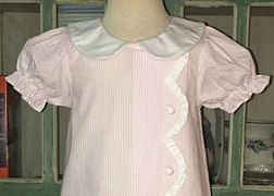 Three Sisters Girl's Monogrammable Pink Seer Sucker Dress with Scalloped Collar
