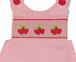 Three Sisters Girl's Smocked Outfit With Hand Embroidered Strawberries