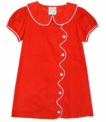 Three Sisters Red Corduroy Dress with White Trimmed Scallop Front