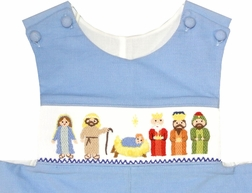 "Three Sisters Smocked Nativity ""Away in the Manger"" Longall"