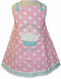 Girl's 1st Birthday Custom Dress in Tiffany Blue, Pink Dots and Tulle Cupcake