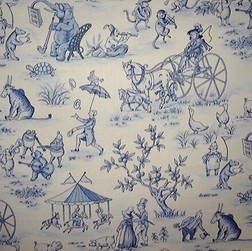 Topsy Turvy Toile, blue