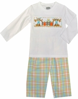 True Smocked Boy Pants Set with Scarecrows and Pumpkins
