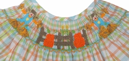 True Smocked Scarecrow and Pumpkins Dress