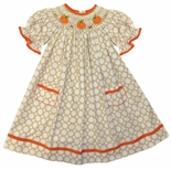 Vive La Fete Girl's Smocked Pumpkins and Fall Leaves Dress
