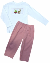 Vive La Fete Smocked Reindeer Boy's Shirt and Pants Set