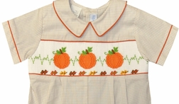 Vive La Fete Boy's Smocked Bubble with Pumpkins and Fall Leaves