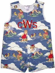 Custom Boy's John John in Waterplay Beach Fabric
