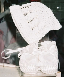White Crochet Bonnet And Booties for Baby Girls and Boys