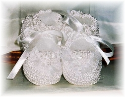Baby Crochet Booties in White for Baby Girls or Boys
