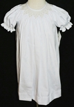 White Smocked Dress with Ecru Pearls