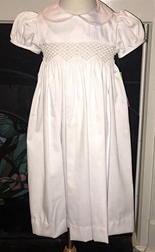 s White Smocked Dress with Ecru Pearls and Back Sash Tie Bow