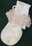 Girl's White Socks With Organza And Pink Satin Trim.