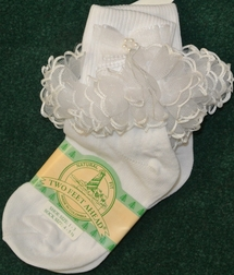 Girl's White Socks With Organza And White Satin Trim.