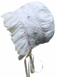 Will'Beth Baby Girl's Smocked Bonnet in White & Lavender