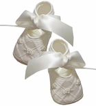 Baby Booties for Girls or Boys in Ecru Satin and Rosebuds by Will'Beth