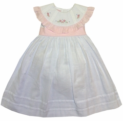 Will'Beth Hand Embroidered Round Ruffle Collar Dress in Pink and White