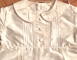 Will'Beth Ivory Silk Boy's Christening Outfit with Matching Bonnet