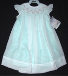 Will'Beth Girl's Dress in Mint Green with White Overlay