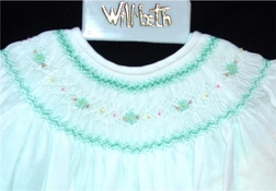 Will'Beth Girl's Dress in Green with White Overlay