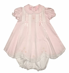 Will'Beth Embroidered Dress with Bows and Bullions with Pink Underslip Dress with Bloomers