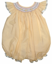 Will'Beth Smocked Baby Girl Bubble in Soft Yellow Buttercream and Blue Accents and Ribbon