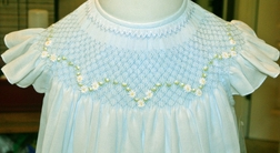 Will'Beth Smocked Dress for Girls in Blue with Overlay and Angel Wings