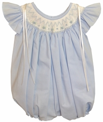 Will'Beth Smocked Blue Bubble for Baby Girls with Satin Ribbons