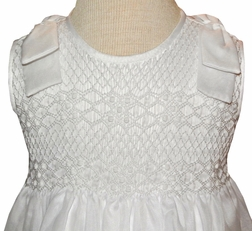 Will'Beth White Smocked Dress with Fabric Shoulder Bows
