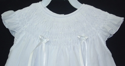 Will'Beth Smocked Dress for Girls in White with White Satin Ribbons.
