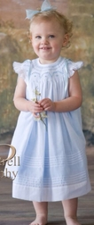 Will'Beth Smocked Dress in Blue With White Overlay & Ribbons
