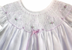 Will'Beth Smocked Dress in Lavender with White Overlay & Angel Wings