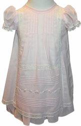 Will'Beth Smocked Dress & Matching Bonnet for Girls in Ivory & Pink