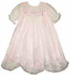 Will'Beth Smocked Dress for Girls in Pink with Overlay and Ribbons