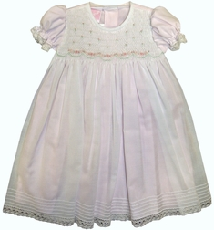 Will'Beth Smocked Pink Underlay Dress with Matching Bonnet