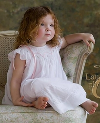 Will'Beth Smocked Dress in Pink with White Overlay and Pink Ribbons