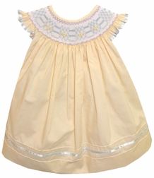 Will'Beth Smocked Soft Yellow Dress with Blue Embroidery and Satin Ribbon Accents