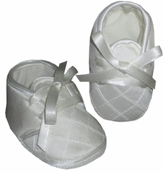 Baby Boy Booties in White by Will'Beth