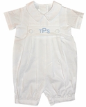 Zuccini Boy's White Monogrammable Seersucker Straight Leg Bubble~Romper~Shortall
