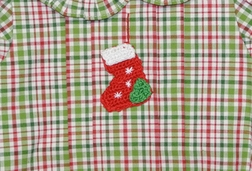 Girl's Christmas Bubble in Christmas Plaid with Crocheted Stocking by Zuccini